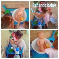 Baño de muñecos en nuestra cocinita de exterior