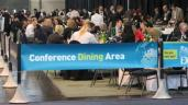 Passenger Terminal Show 2012 using the Tigrox banner barrier system to functionally segregate their event dining area.