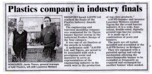 Tigrox in the Bridport News for being finalists in Plastics Industry Awards