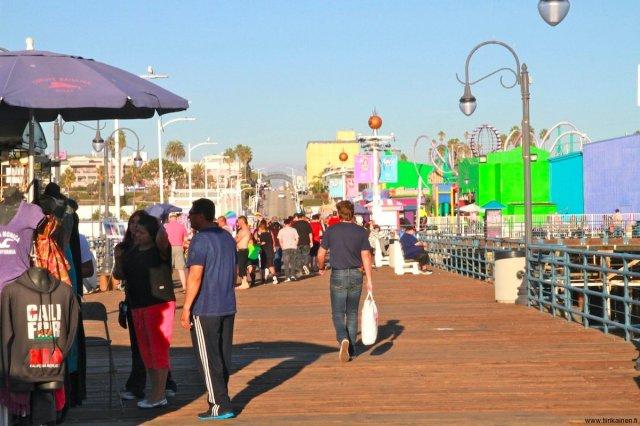 People on Santa Monica Pier California