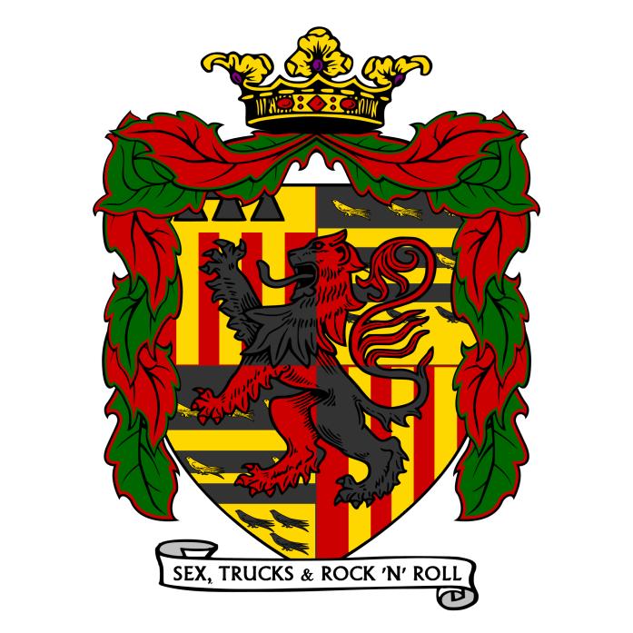 Fig. 1: #RodeBaron – gevierendeeld: op I en IV drie palen van goud op een veld van rood; op I een gouden schildhoofd met een zwarte barensteel; II en III doorsneden van zwart en goud met twee balken omsloten door acht merletten langs de zoom, alles van het een in het ander; over het geheel een leeuw rampant gevierendeeld in zwart en rood.