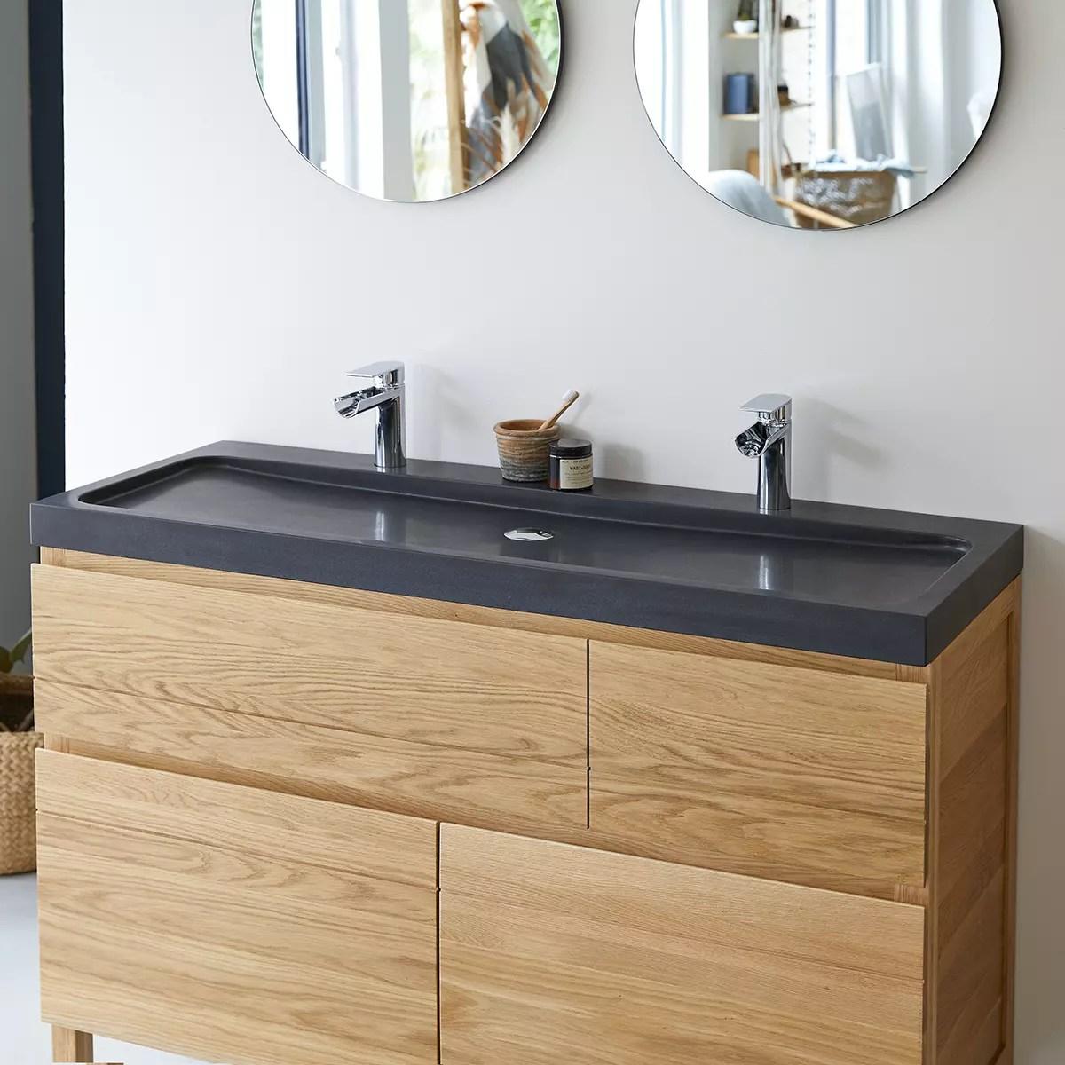 meuble salle de bain en chene massif et pierre de lave 120 easy