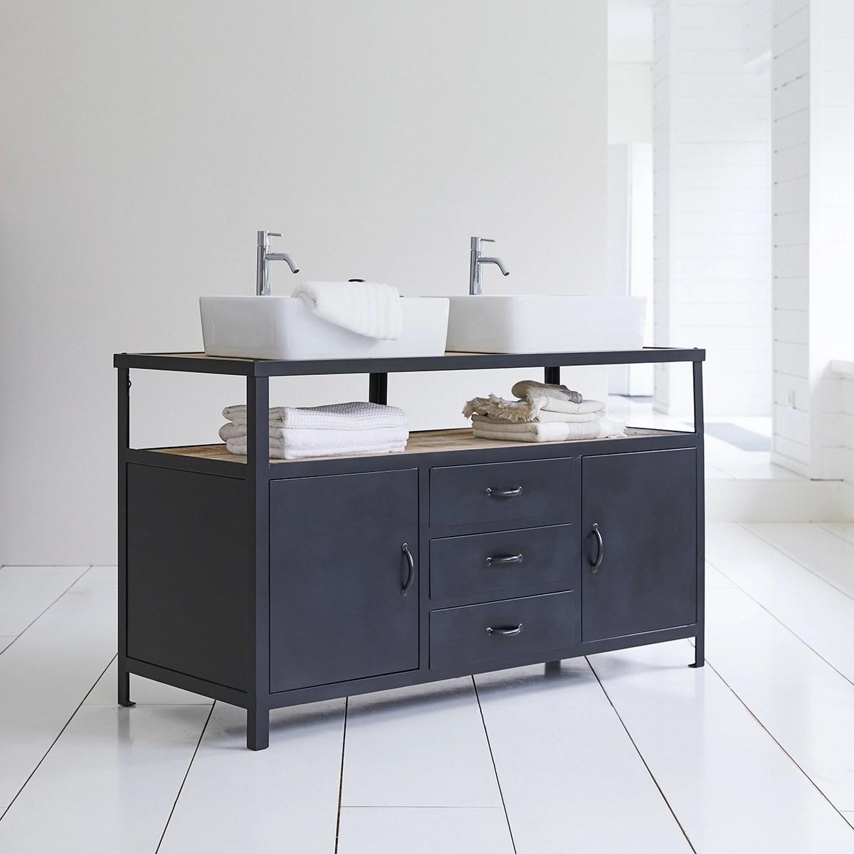 meuble salle de bain en metal et manguier 140 industriel