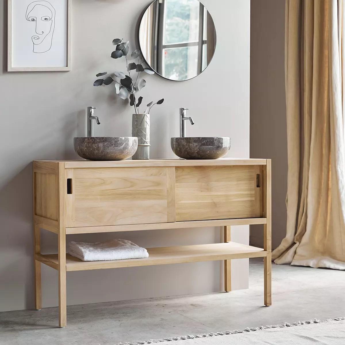 meuble salle de bain en teck massif brut 120 arty