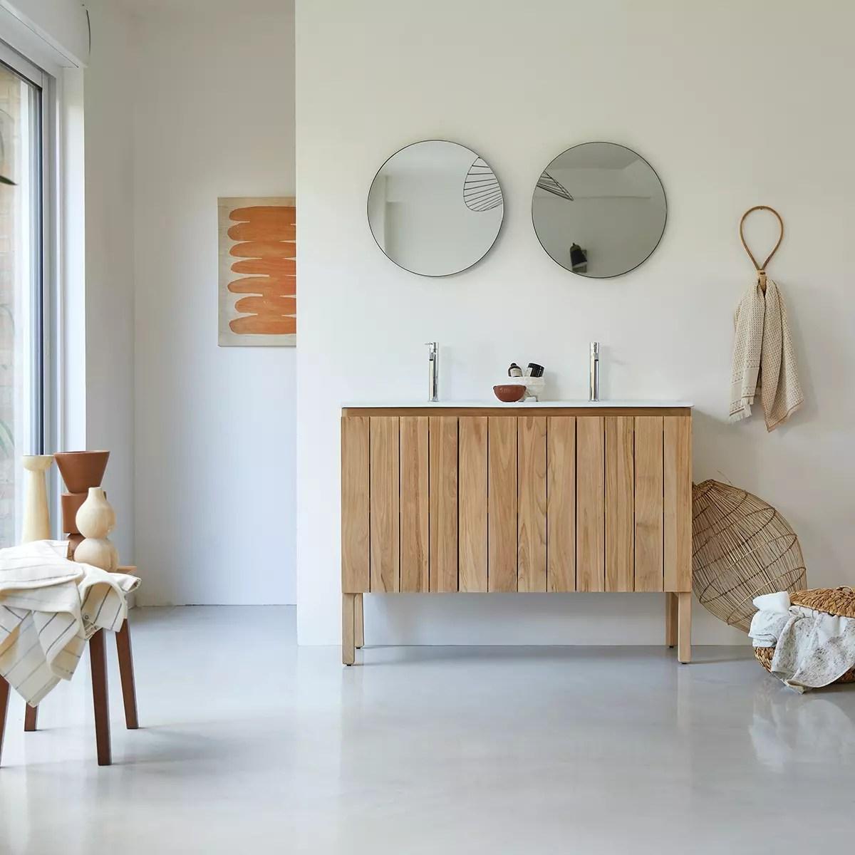 meuble salle de bain en teck massif et ceramique 120 jill