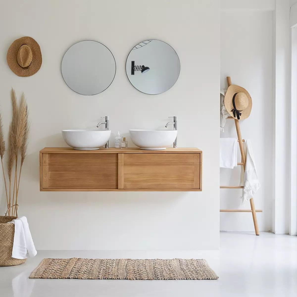 meuble salle de bain teck massif 140 basic