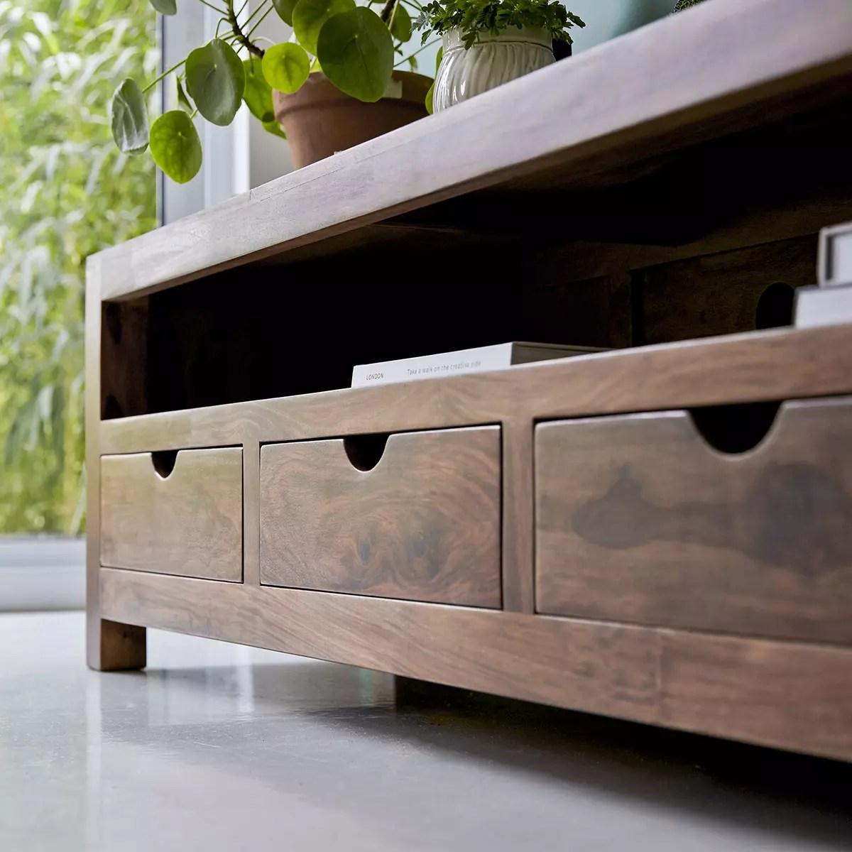 meuble tv en palissandre massif oliver 200 cm