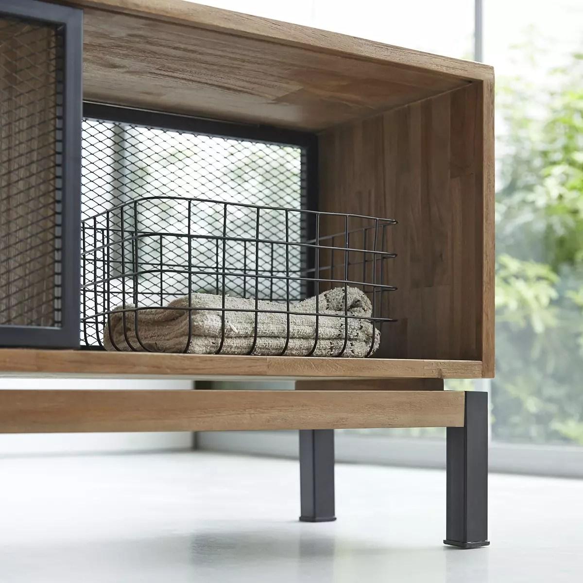 meuble tv en teck massif et metal color bebop black 170 cm