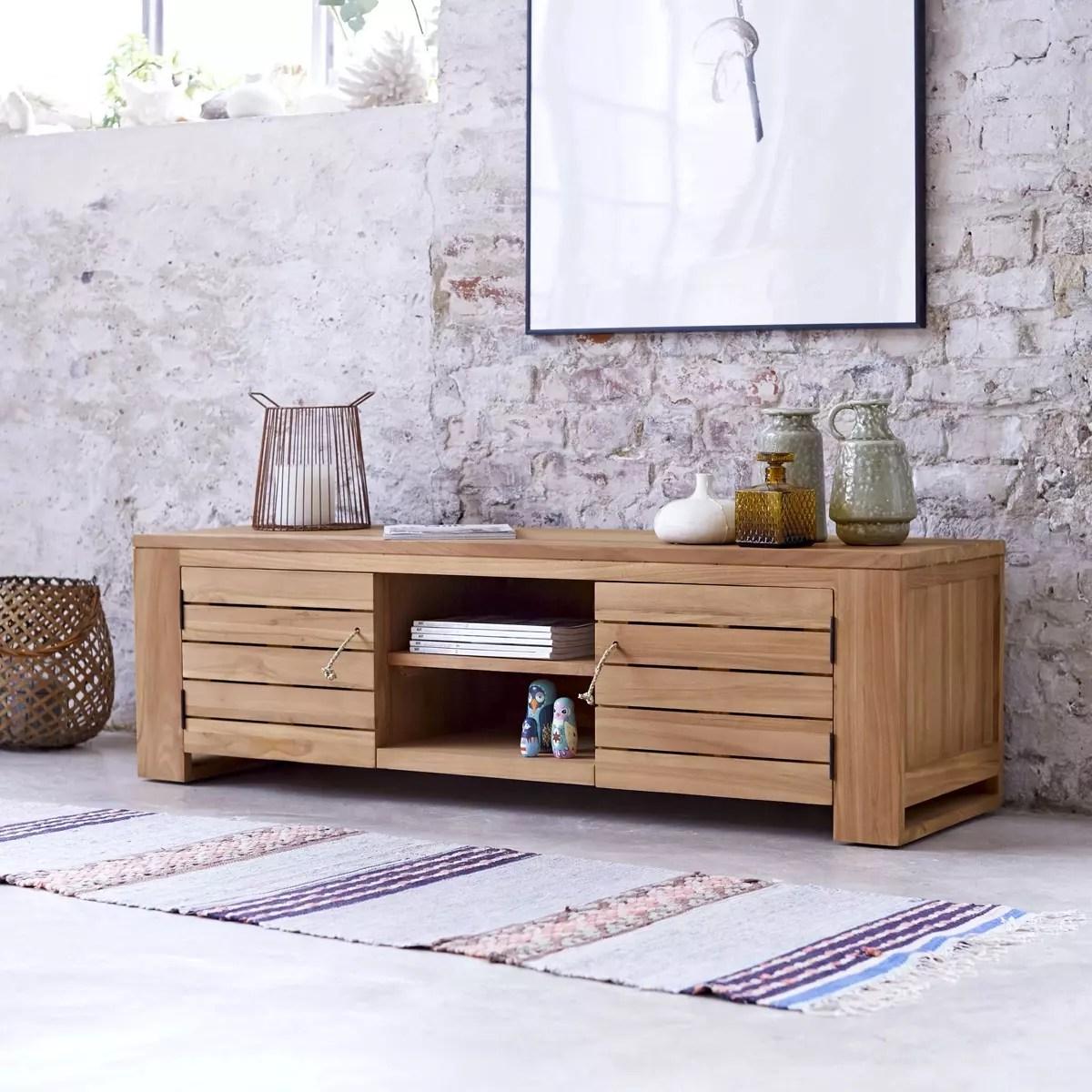 meuble tv en teck massif minimalys 135 cm