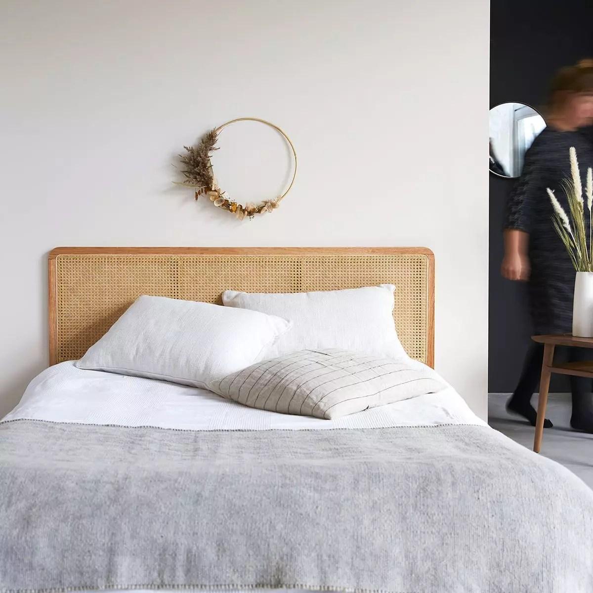 tete de lit en rotin cannee 160 cm adele