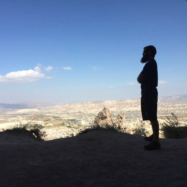 Enjoying the view from the base of Uchisar Castle
