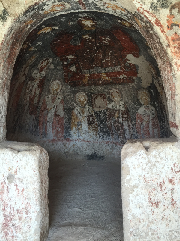 The artwork inside the cave church