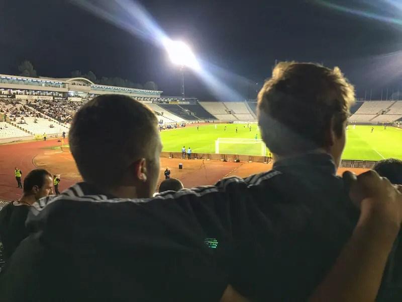 comrades at the football