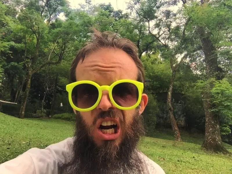 sweaty meditation in botanical gardens