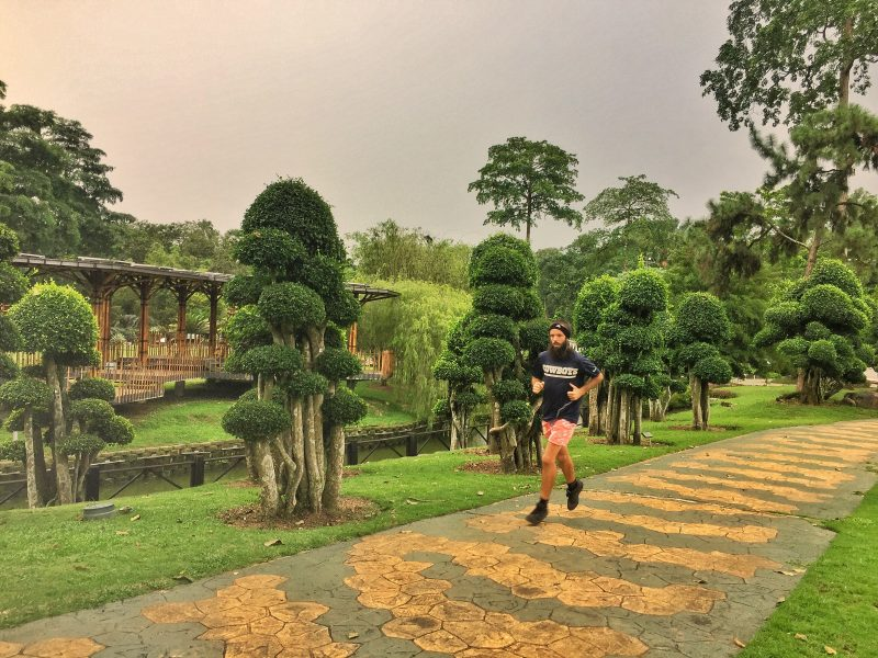running in the botanical gardens