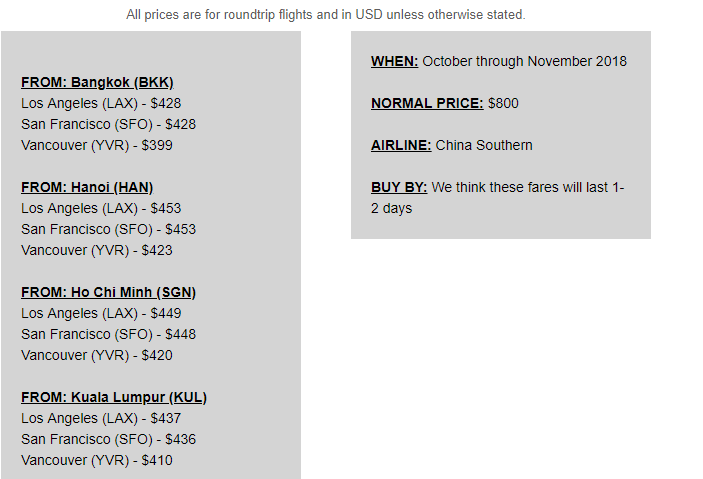 flights deals between usa and asia