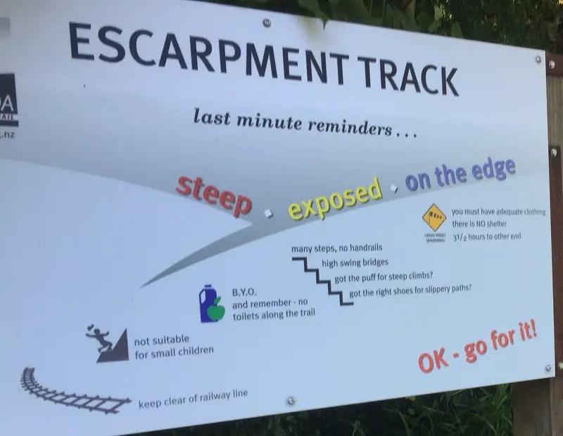escarpment trail warnings