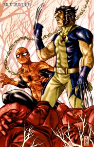 spider man and wolverine in the forest 193x300 spider man and wolverine in the forest