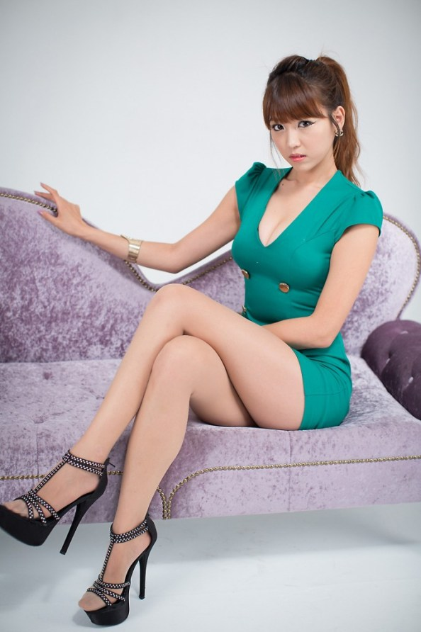 Asian in green Dress on Purple couch 682x1024 Asian in green Dress on Purple couch