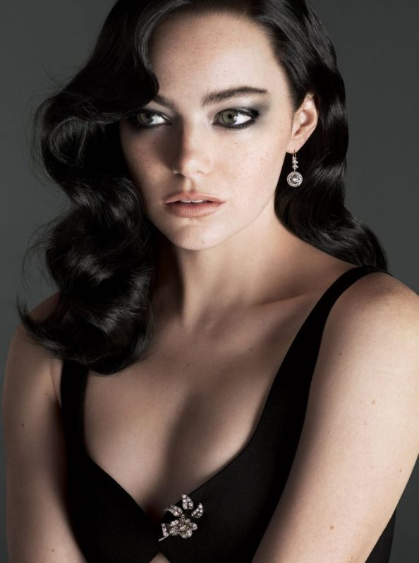 Emma Stone with dark hair 762x1024 Emma Stone with dark hair