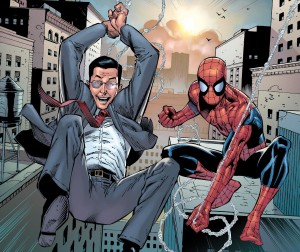 Spider-man and steven Colbert