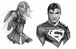 Superman and supergirl Sketches