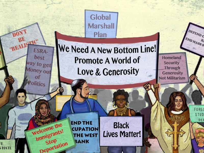Image of diverse people holding different signs