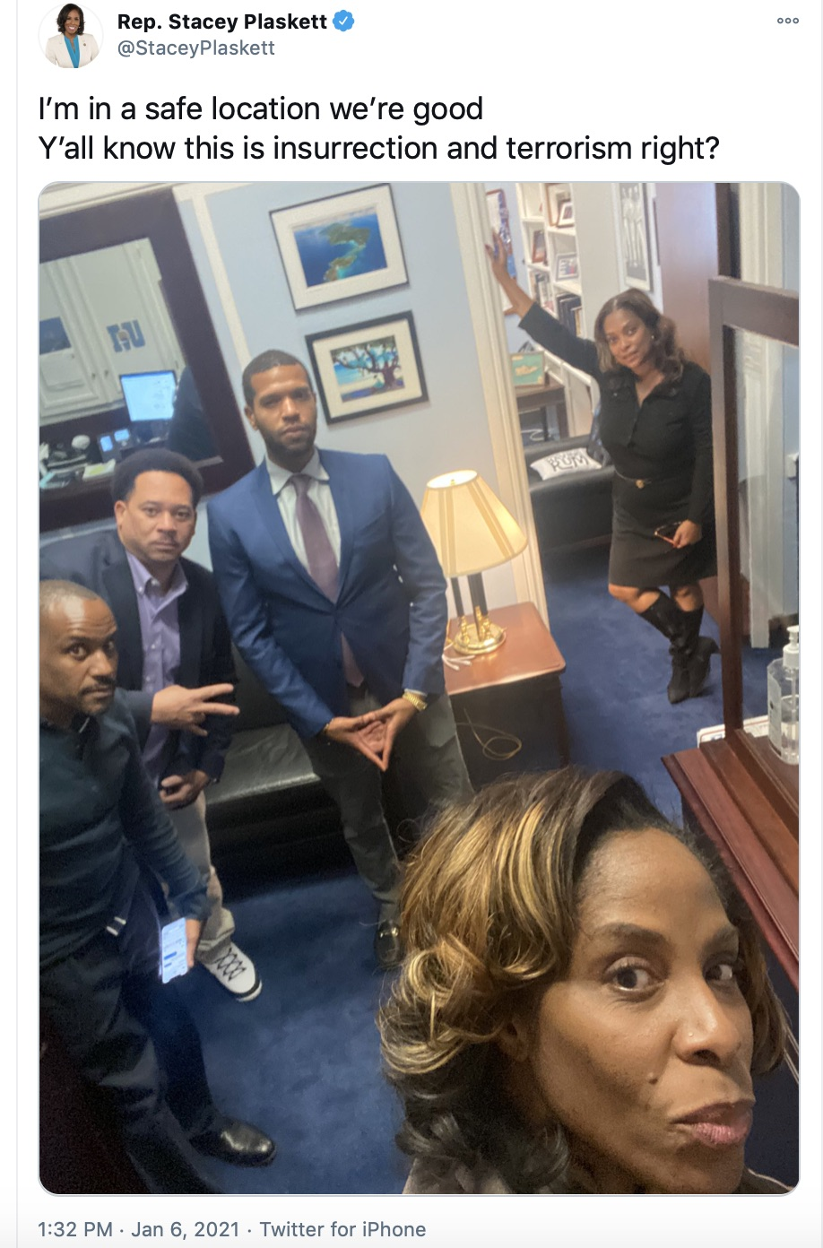 Rep Stacey Plaskett hiding from terrorists in her office