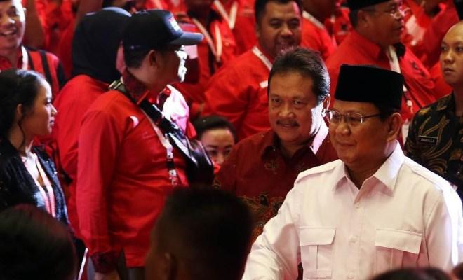 Prabowo disambut meriah saat hadiri rakernas PDIP