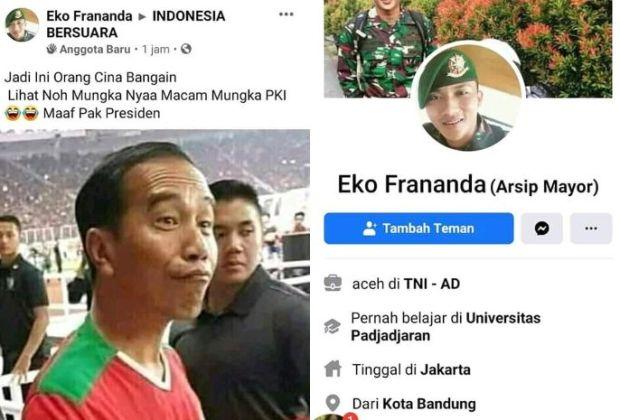 (Cek Hoaks atau Fakta) Akun FB Anggota TNI AD Hina Jokowi