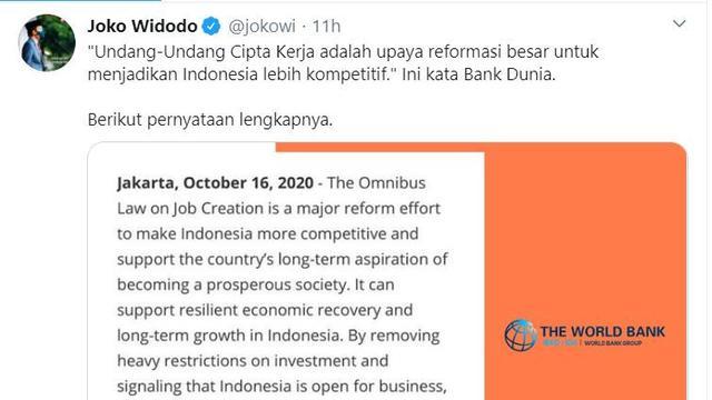 Viral, Cuitan Jokowi Kutip Komentar Bank Dunia Soal Omnibus Law jadi Trending Topic