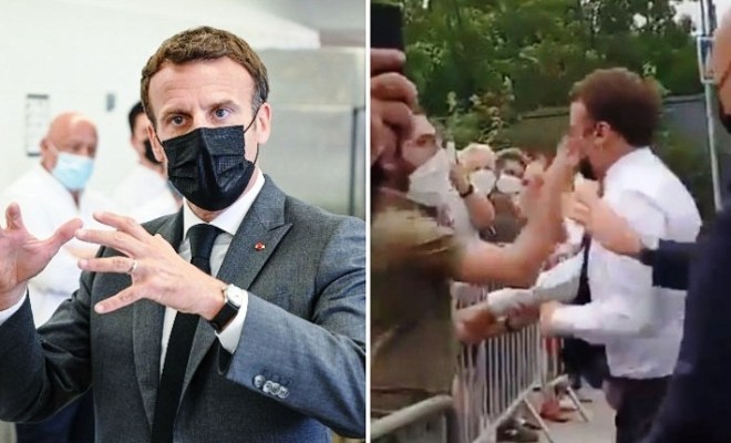 Presiden Prancis Ditampar Orang Tak Dikenal