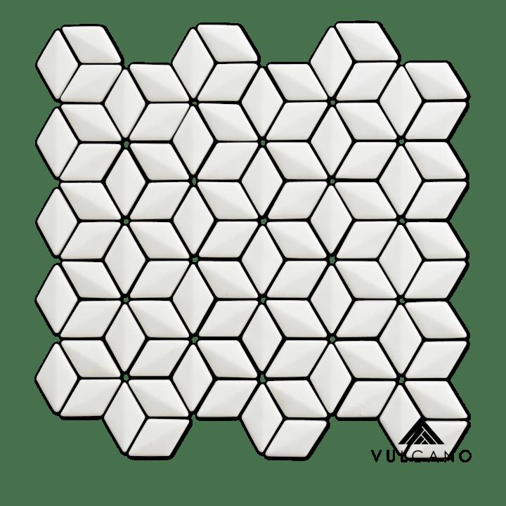 white rhombus 3d recycled glass mosaic