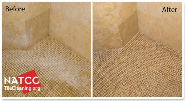 removing soap scum in a limestone shower