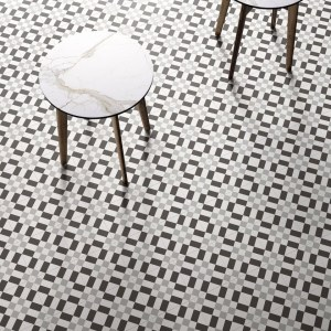 Patch Work Black & White 02 Pattern Tile