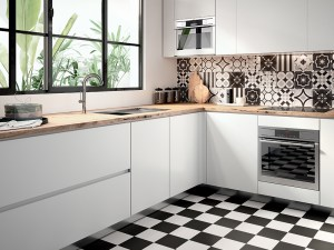 Patch Work Black & White Black Pattern Tile