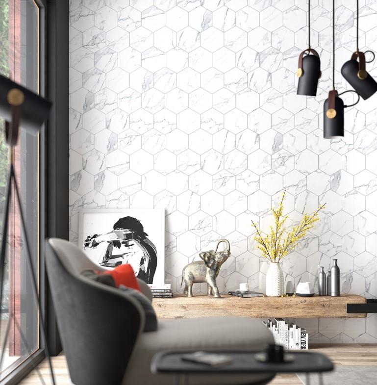 yrt 8x10 swan white hex porcelain tile