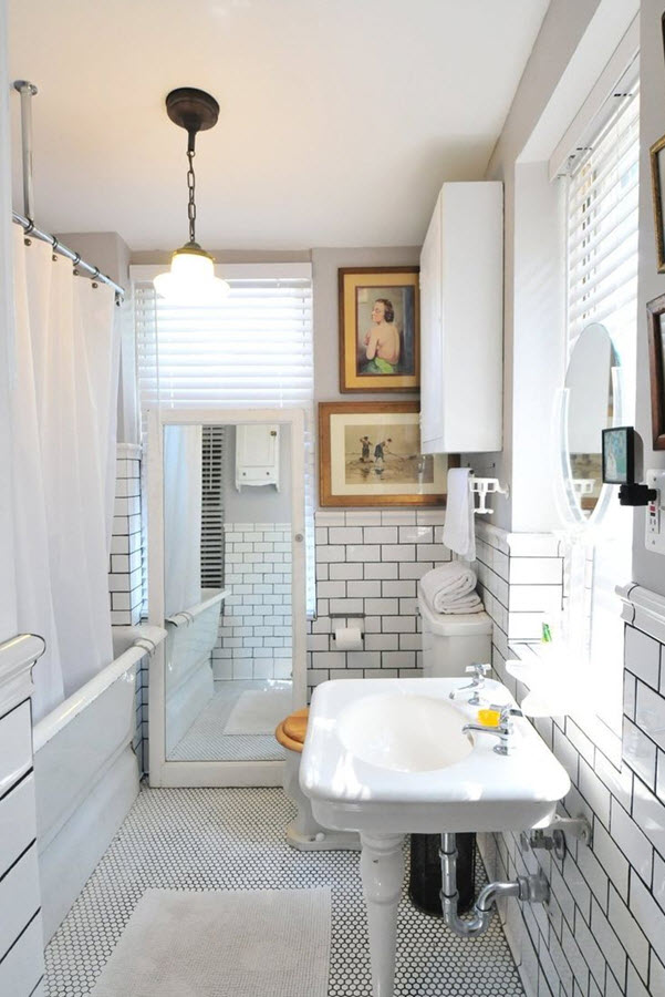 35 black and white subway bathroom tile ideas and pictures on Bathroom Ideas Subway Tile  id=38418