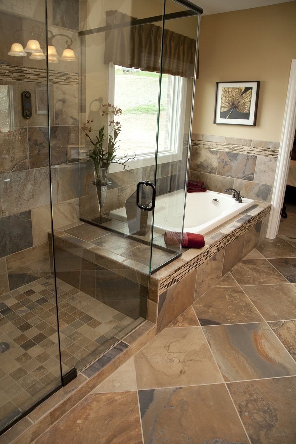 33 stunning pictures and ideas of natural stone bathroom ... on Bathroom Tile Designs  id=76714