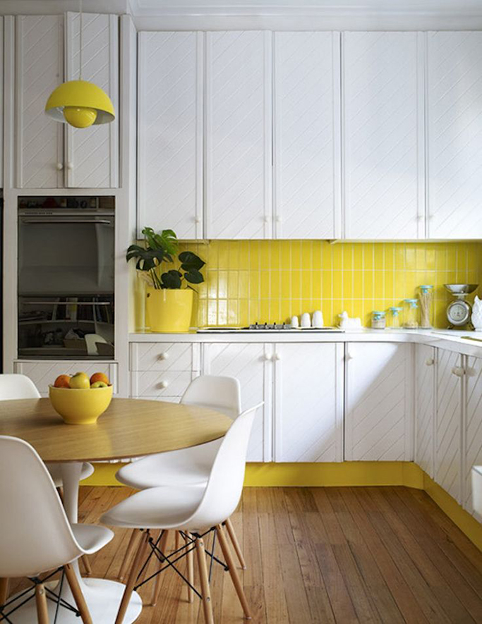 yellow tile in kitchen