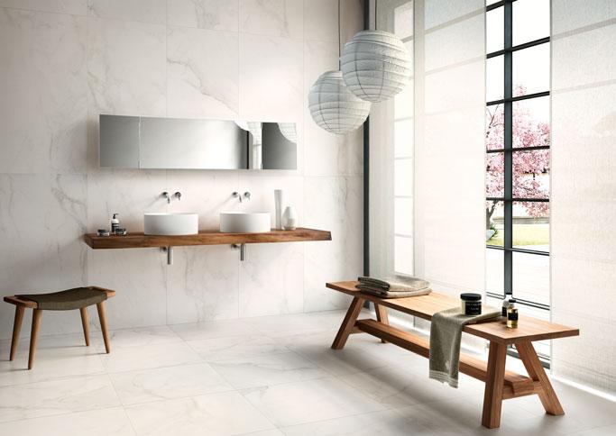 Calacatta Marble white bathroom