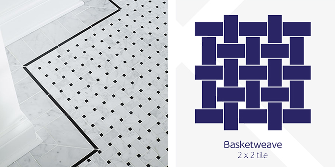 Basketweave floor tile pattern