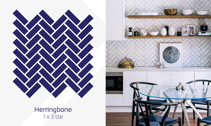 Herringbone pattern wall tiles example