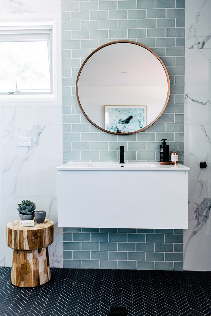 blue and marble tile bathroom