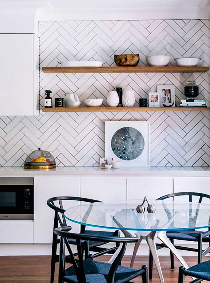 herringbone tiles with dark grout in kitchen
