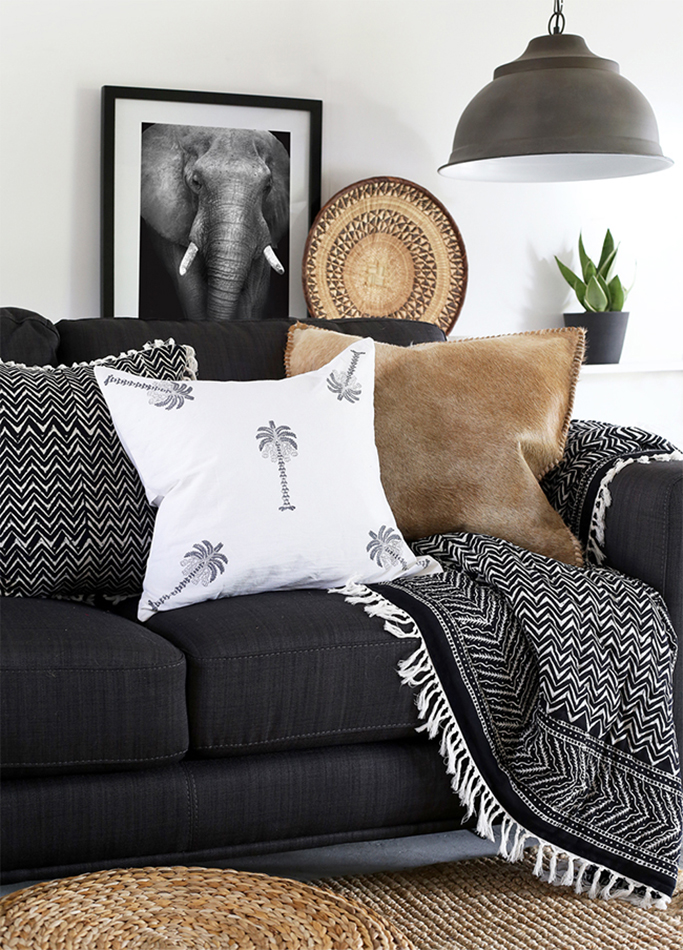 sofa with cosy throw