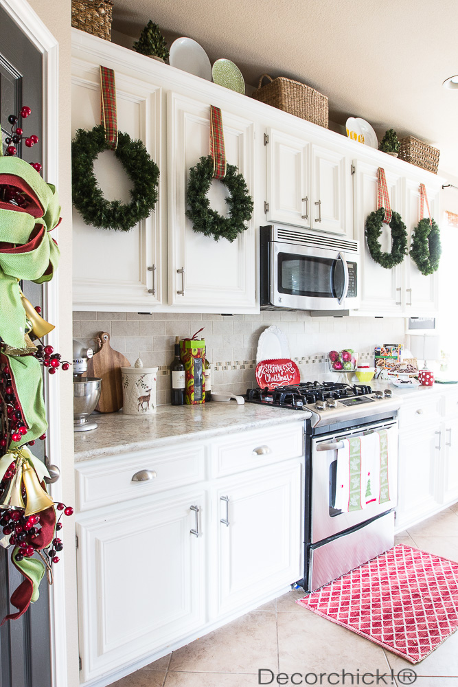 christmas kitchen with mini wreaths