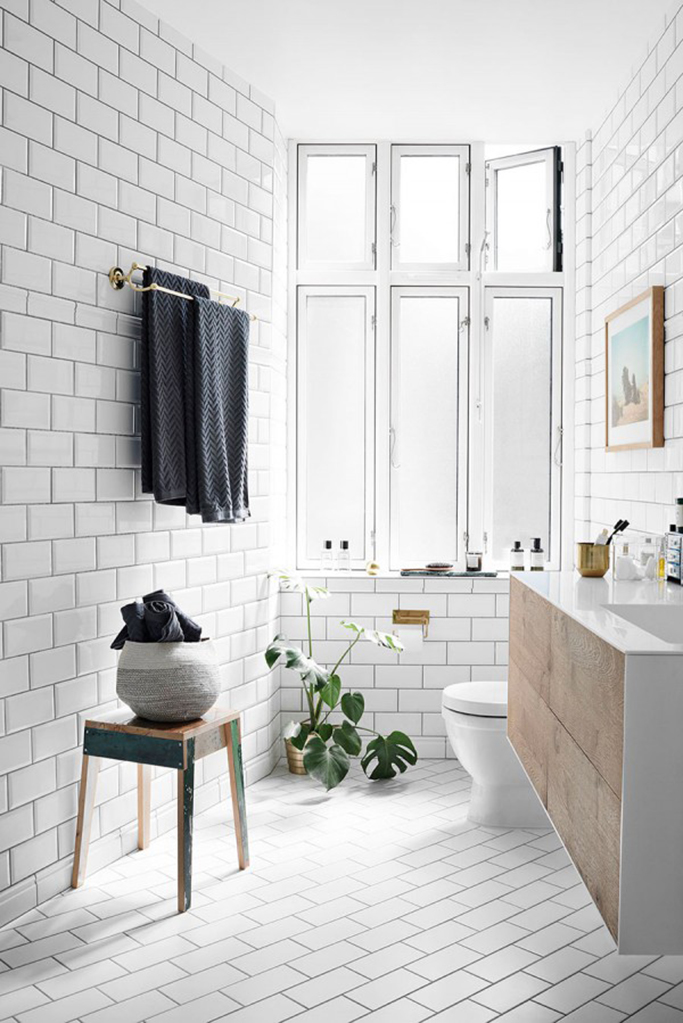Wonderful Scandi Bathroom With Angled Subway Floor Tiles Part 28