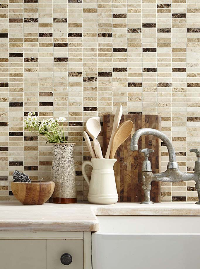 Expresso Marble Linear Mosaic
