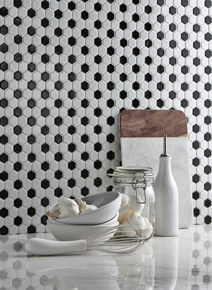 Hexagon Mosaic in Black and White